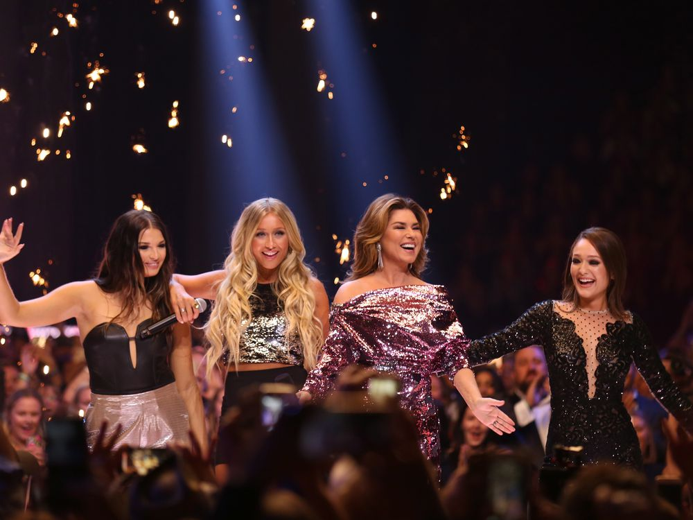 Jess Moskaluke, Madeline Merlo, Shania Twain, and Kira Isabella open the Canadian Country Music Awards in Hamilton, Ont. on Sunday, September 9, 2018. THE CANADIAN PRESS/Peter Power